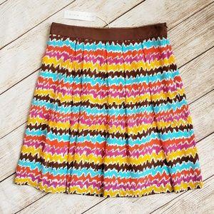 Trina Turk NWT Silk Brown Striped Skirt Size 2